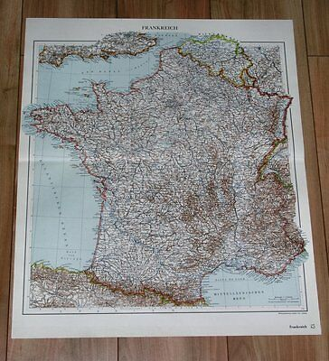 1935 Original Vintage Map Of France / Paris Brittany Normandy