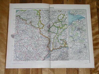 1906 Antique Map Of Ne France / German Lorraine Alsace Elsass Lothringen
