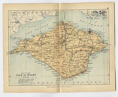 1898 Antique Map Of Isle Of Wight County / Newport Ryde Ventnor / England