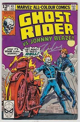 Ghost Rider # 43  Signed Stan Lee  Uk 2014  1St Print  Pence Variant 1980