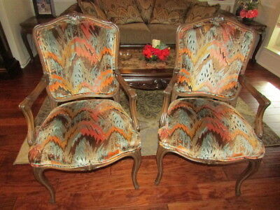 Pair Of French Louis Xvi-Style Armchairs Carved Wood Frames Velour