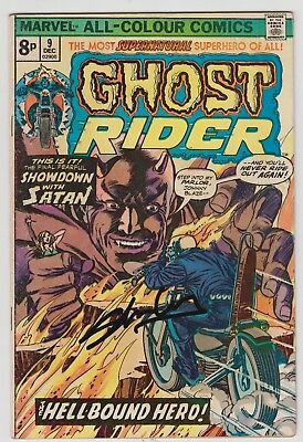 Ghost Rider # 9  Signed Stan Lee  Uk 2014  1St Print  Pence Variant 1974