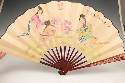 Vintage Chinese Paper Wood Fans Adorn Collection Old Painting Beauty Gifts