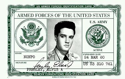 Elvis Presley U.S. Army ID card - Mint Condition Collectible