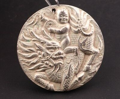 Chinese Tibetan Silver Handmade Carving Dragon Statue Pendant Old Collection