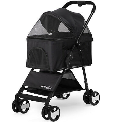 Pet Stroller 2-In-1 Detachable Carrier Dog Cat 4 Wheel Foldable Travel Walk