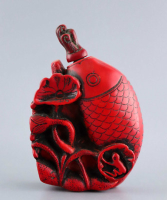 Collectable China Old Red Coral Carved Fish & Lotus Delicate Lucky Snuff Bottle