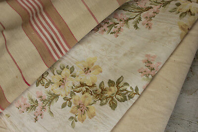 Vintage French fabric antique material PROJECT BUNDLE silk floral ticking 1800s