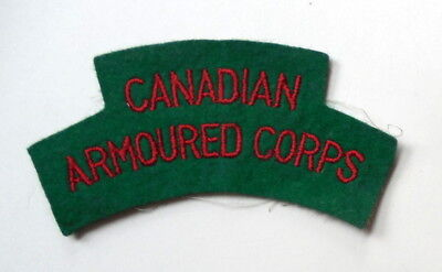 Reproduction WW II Era Canadian Armoured Corps Shoulder Tab Very Good Condition