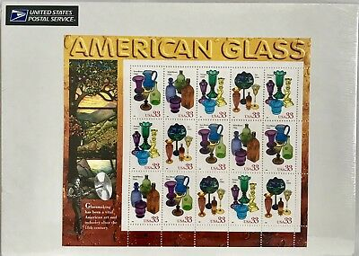 US Stamp Sheet American Glass 33 Cent Face Value $4.95