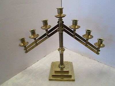"Vintage Solid brass 7 candle candelabra adjustable Altar Church funeral 17¾"" T"