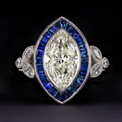 1.66c CERTIFIED I SI1 MARQUISE CUT DIAMOND SAPPHIRE ENGAGEMENT RING VINTAGE DECO