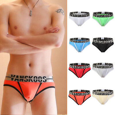 Mens Sexy Ice Silk Smooth Comfy Underwear Thongs G-string Bulge Pouch Briefs 276