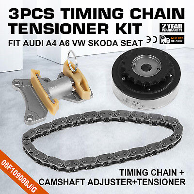 Pop Camshaft Adjuster+Timing Chain+Tensioner For VW Eos Jetta Passat 2.0 Can