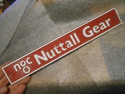 Vintage Nuttall Gear Cast Aluminum Sign Plaque
