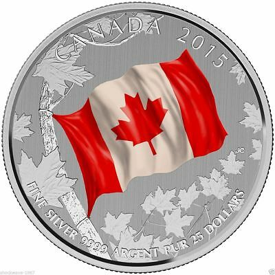 "Canada - ""50th ANN OF THE CANADIAN FLAG"" $25 99.99% Silver Coloured Coin 2015 !"