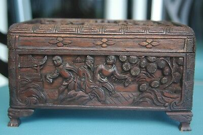 "Fine Hand Carved Wood Box Scholars Students Asian 7 3/4"" 19.7cm 100+ YRS"