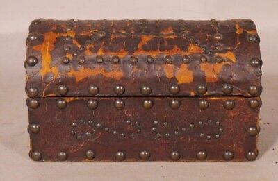 Antique Miniature Leather Bound Dome top Trunk #2