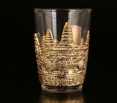 Chinese Gold Plating Glass Teacup Retro Relief Castle Decoration Gift Collection