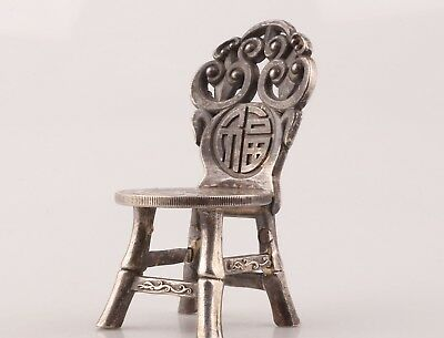 Vintage Chinese Silver-Plated Copper Stool Statue Commemorates Collection