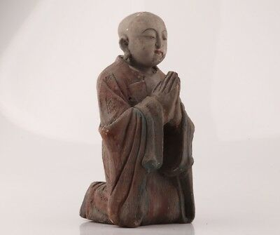 Buddhism Ancient China Wood Statue Hand Carved Monk Believe Spirituality Collec