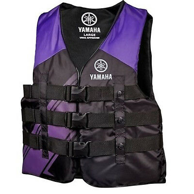 Yamaha Marine New OEM Ladies PFD Nylon 3 Buckle Life Jacket, Large, Purple