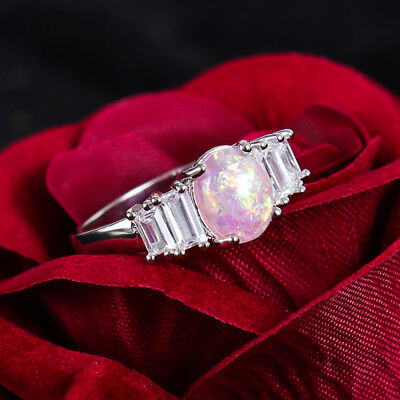 Fashion Women Pink Silver Engagement Wedding Finger Band Ring Party Gift Size7-9