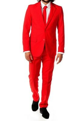 New Mens Bright Red Holiday Christmas Party Suit TUXXMAN Fashion Slim Fit SALE
