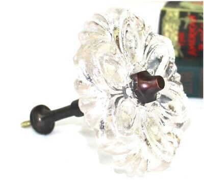 Pressed Clear Glass Curtain Tieback or Hold Back for Drapery Hardware PAIR