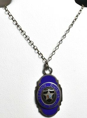 Blue Enamel Sweetheart Necklace Pendant - Sterling Second Division U.S. Army