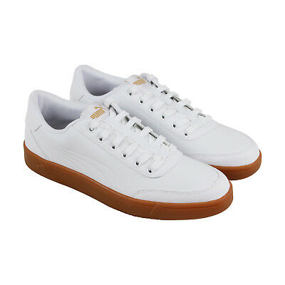 30cad216ed88 Puma Court Breaker L Mono Mens White Leather Lace Up Sneakers Shoes