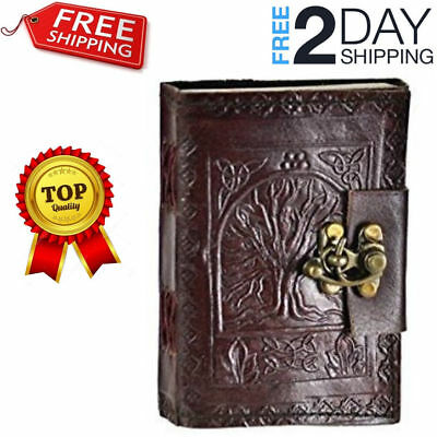 Leather Celtic Tree Of Life Book Of Shadows Blank Spell Book Wicca FREE SHIPPING