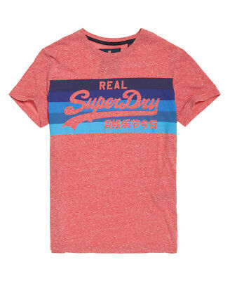 New Mens Superdry Vintage Logo Cali Stripe T-Shirt Sunbleached Red