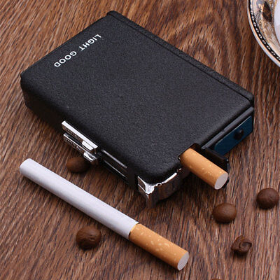 Automatic Flame Oil Windproof Lighter w/ Metal Cigarette Case Holder Dispenser