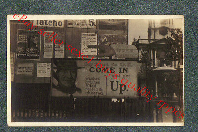 LONDON ENGLAND FENCE COVERED WITH POSTERS   - circa 1920 rppc Photo GRADE 4