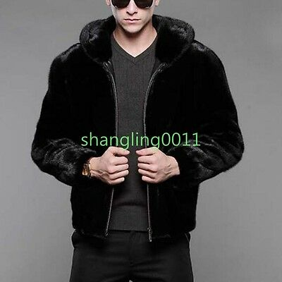 2018 Mens Luxury Faux Fur Hooded Zip Jacket Coat Business Slim Outwears Parkas