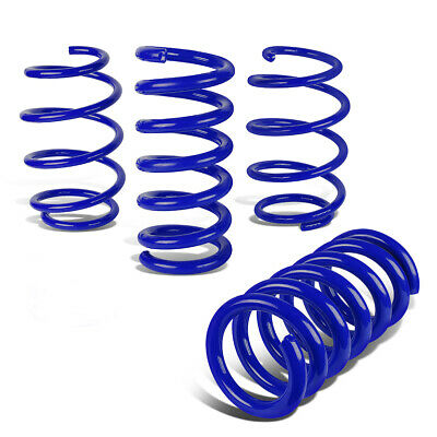 """Fit 15-18 Ford Mustang 1"""" Drop Front+Rear Suspension Lowering Coil Springs Blue"""