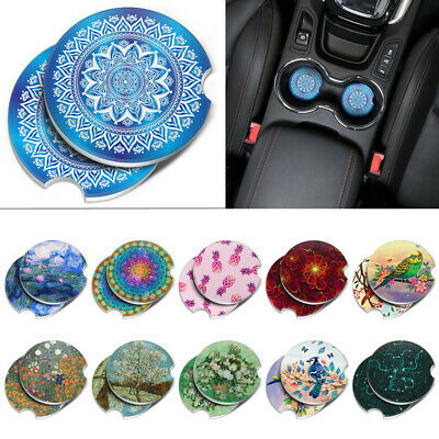 Set of 2 Mandala Round Ceramic Car Coaster For Drinks Coffee Tea Cup Holder