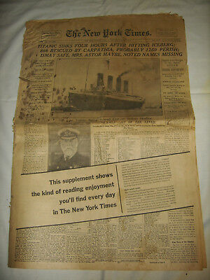 1912 New York Times full newspaper TITANIC EDITION 1960's promotional copy