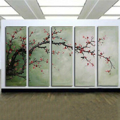 5Pcs Oil Canvas Painting Plum Blossom Art Picture Abstract Wall Decor No Frame