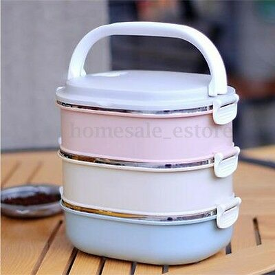 3 Tier Stainless Steel Bento Lunch Box Portable Insulated Thermal Food Container