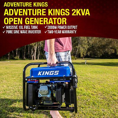 New 2kVA Petrol Generator Pure Sine Rated 2000W Inverter Portable Camping