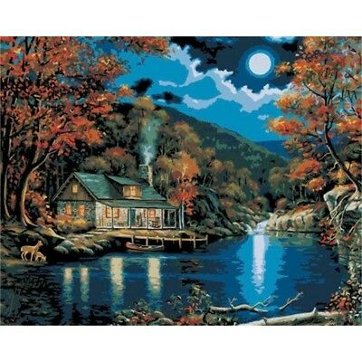 Plaid:craft Paint Paint By Number Kit 16-inch x 20-inch, Lakeside Cabin - Inch