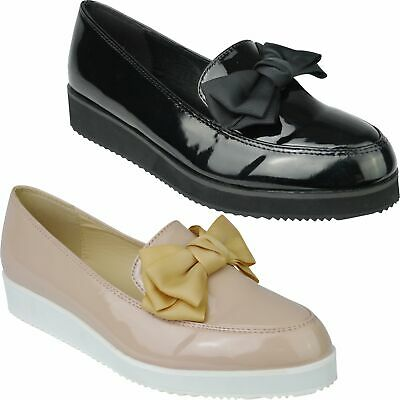 Womens Ladies Flat Chunky Sole Dolly Shoes Creeper Bow Loafers School Work