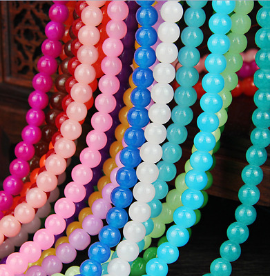 wholesale 4--14mm bead Imitation jade glass Paint Round Spacer beads