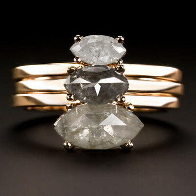 1.75ct NATURAL DIAMOND MARQUISE CUT GRAY 3 RING STACKING SET EAST WEST ROSE GOLD