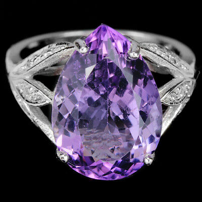 Natural Purple Amethyst 15X11 Mm. & White Cz Sterling 925 Silver Ring Size 6.25