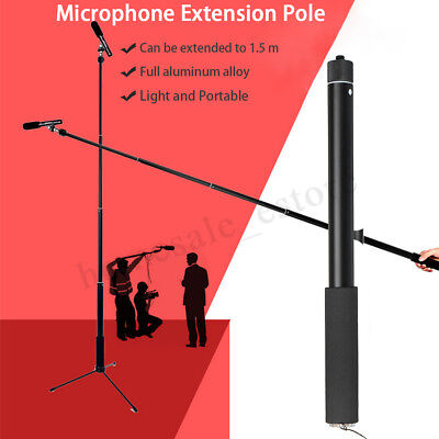 Micro Boom Pole Microphone Mic Holder 5 Section Boompole 35.5cm-150cm Extension