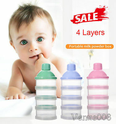 UK_ Baby Formula Milk Powder Dispenser 4 Layers Infant Food Storage Container