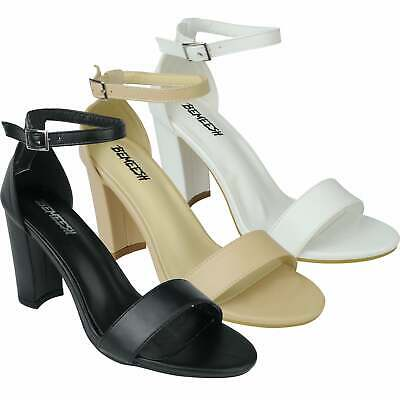 Womens Ladies Ankle Strap Sandals High Heels Block Heel Peep Toe Shoes Formal